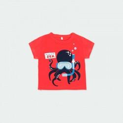 camiseta bebe manga corta roja de boboli