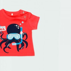 camiseta bebe manga corta roja de boboli estampado submarinista