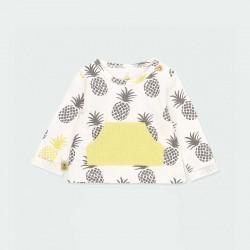 camiseta bebe niña manga larga estampado piñas