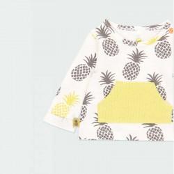 detalle camiseta bebe niña manga larga estampado piñas
