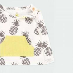 obertura por el cuello de camiseta bebe niña manga larga estampado piñas