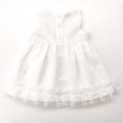 vestido bebe de lino con tul y capota por detrás