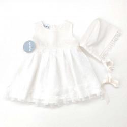 vestido bebe de lino con tul y capota