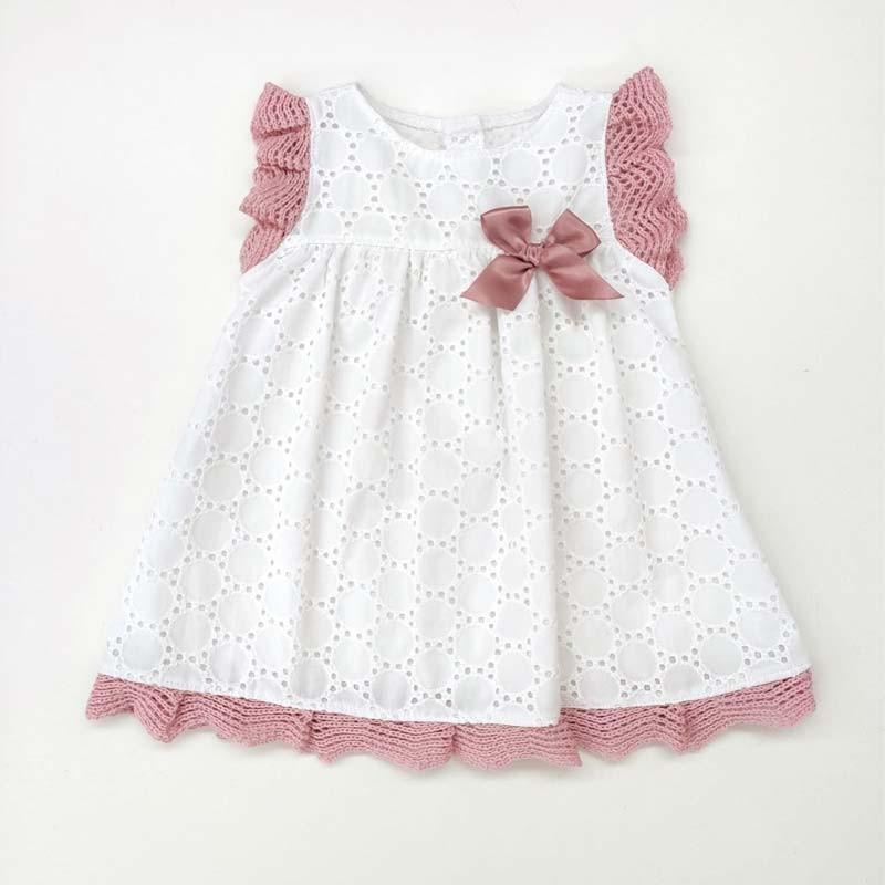 vestido bebe juliana de primavera verano crudo y rosa