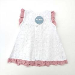 vestido bebe juliana de primavera verano crudo y rosa por detrás