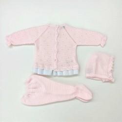 conjunto punto rosa de bebé juliana por detrás