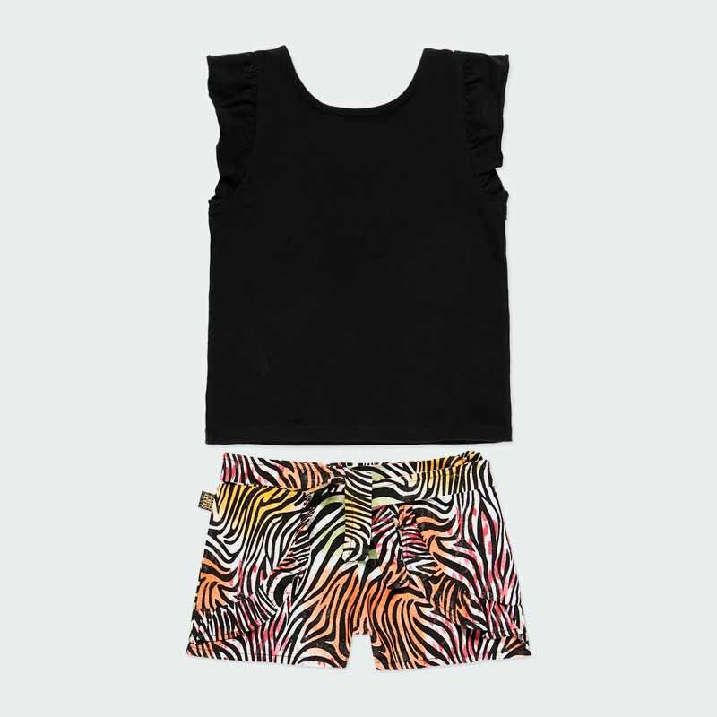 conjunto niña short colores y camiseta negra