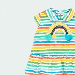 detalle vestido punto bebe rayas colores boboli