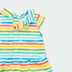 vestido punto bebe rayas colores boboli por detrás