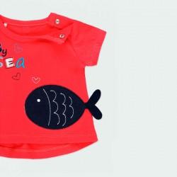 camiseta bebe niña roja de peces