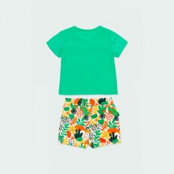conjunto punto bebe boboli short y camiseta verde por detrás