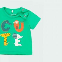detalle camiseta bebe verde manga corta verde