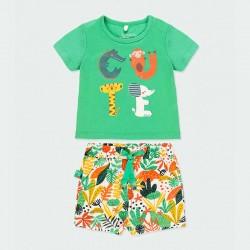 conjunto punto bebe boboli short y camiseta verde