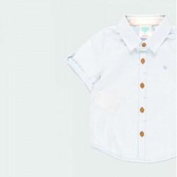 camisa manga corta bebe azul claro botones madera
