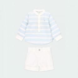 conjunto bebe niño de vestir azul y blanco