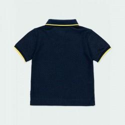 polo manga corta niño azul marino y amarillo por detrás