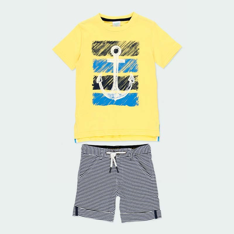 conjunto punto niño boboli amarillo y rayas marino