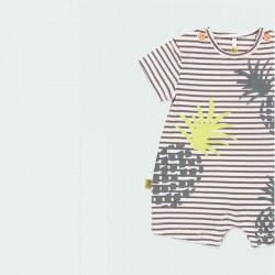 detalle pelele punto bebe rayas y piñas boboli
