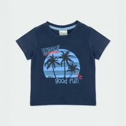 camiseta manga corta niño azul estampada boboli