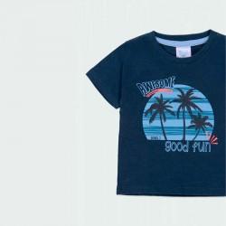 detalle camiseta manga corta niño azul estampada boboli