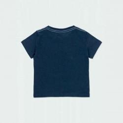 camiseta manga corta niño azul estampada boboli por detrás
