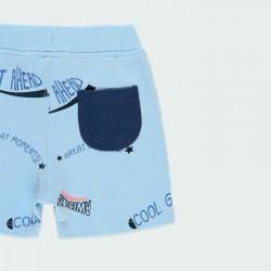detalle bermuda punto niño azul claro de boboli por detrás
