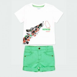 conjunto denim niño verde y camiseta jirafa