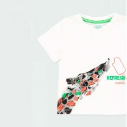 detalle camiseta manga corta niño original estampado jirafa
