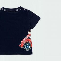 detalle camiseta bebe niño marino estampado coche por detrás