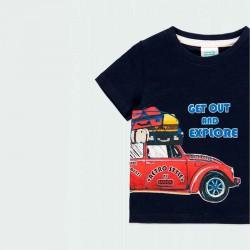 detalle camiseta bebe niño marino estampado coche