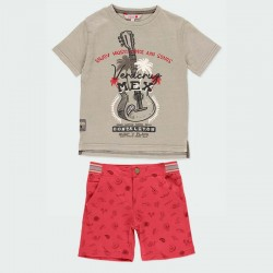 conjunto niño bermuda y camiseta estampado mexicano