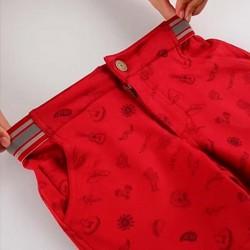bermuda niño roja estampado mexicano con cintura elástica