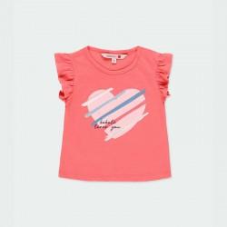 camiseta bebe niña desmangada color fresa