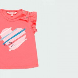 estampado camiseta bebe niña desmangada color fresa