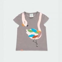 camiseta niña gris de flamenco colores
