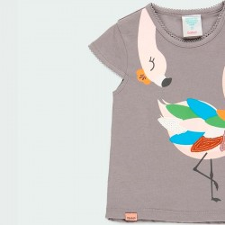 detalle camiseta niña gris de flamenco colores