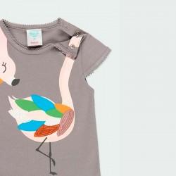 camiseta desmangada niña gris de flamenco colores