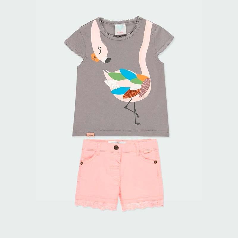 conjunto niña primavera verano denim rosa y gris