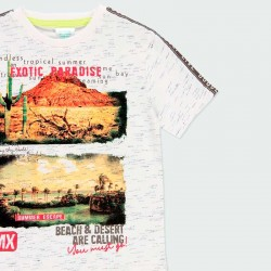 estampado desierto y playa en camiseta niño