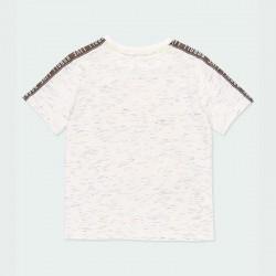 camiseta manga corta niño gris estampada por detrás