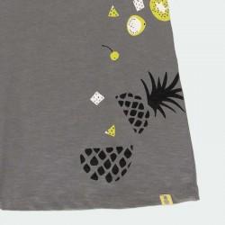 detalle vestido punto niña gris y estampado amarillo