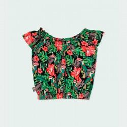 blusa niña estampado tropical verde y coral por detrás