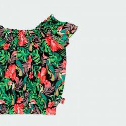 detalle blusa niña estampado tropical verde y coral