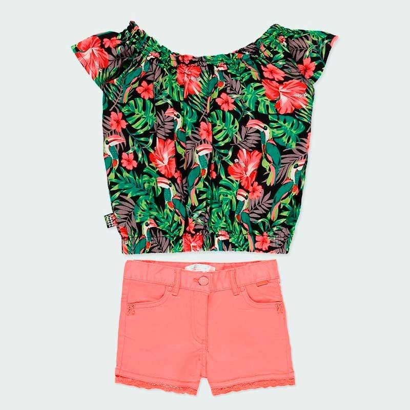 conjunto niña blusa y short coral