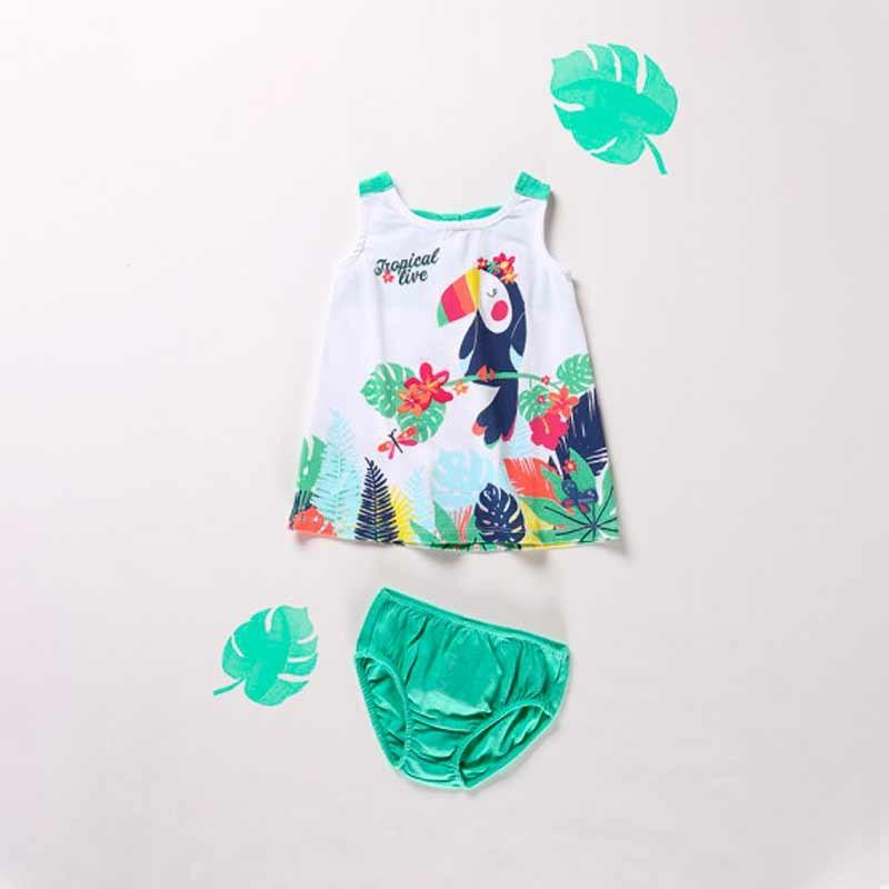 vestido punto bebe estampado tropical
