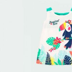 detalle vestido punto bebe estampado tropical