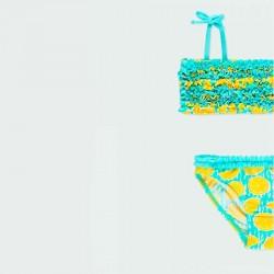 bikini de niña amarillo y turquesa