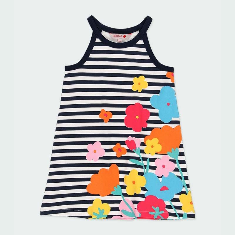 vestido punto niña rayas y flores de verano
