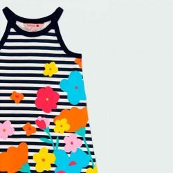 detalle vestido punto niña rayas y flores de verano