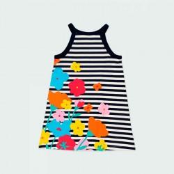 vestido punto niña rayas y flores de verano por detrás
